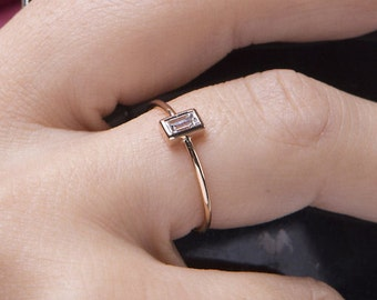 Diamond baguette ring, Diamond ring, Wedding ring, Trendy diamond ring, 18κ diamond ring,   Engagement ring