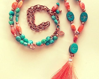 Long Tassel Necklace Turquoise Color Amazonite and Crab Jasper