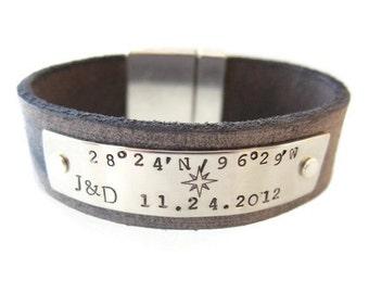 Men's Leather Coordinate bracelet, Personalized Latitude & Longitude Leather Bracelet, Custom Coordinates, Wedding Bracelet, men's gift