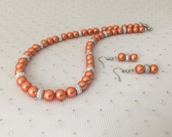 Orange Bridal Necklace, Orange Pearl Necklace, Rhinestone Jewelry Set, Rhinestone Earrings, Orange Beaded Jewelry, Bridesmaid Jewelry Gift