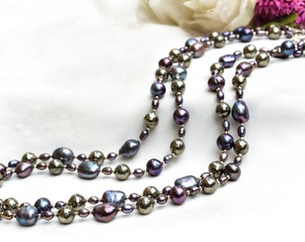 Feshwater Pearl Necklace with Pyrite and 925 sterling silver *Free worldwide shipping*