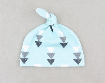 Newborn Hats // Hospital Hat Baby Organic Cotton Knit Baby Hat Baby Hat Knot Hat for Baby Infant Cap // Aqua Triangle Fall