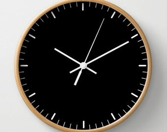 Black wall clock classic design black and white minimalist decor contemporary essential lines signs hours home decor graphic clock