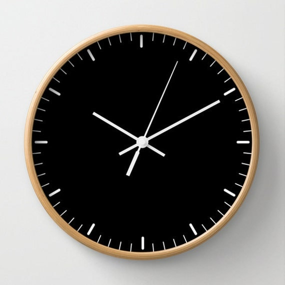 Black Wall Clock Classic Design Black And White Minimalist