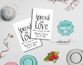 "Spread the Love Jam Favor Tag ""Quirky"" (Printable File Only) Jam Jelly Wedding Favor Tags; Printable Wedding Tags; DIY Wedding Tags"