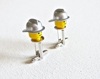 Firefighter Cufflinks Cuff Links LEGO Fireman Wedding Groom Groomsmen Gift