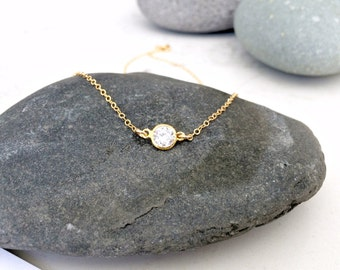 cubic zirconia CHOKER cz solitaire necklace 14k gold filled tiny cz diamond cz jewelry minimalist necklace bridesmaids sets gold choker gift