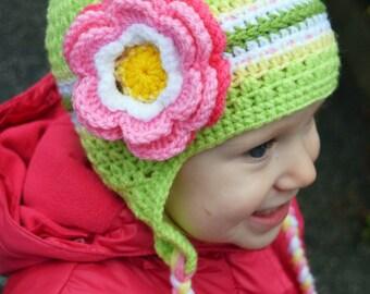 SALE ! Handmade Crochet hat for girls, toddler hat, Flowers hat, green hat