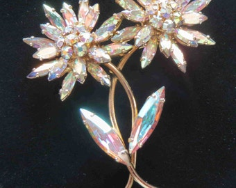 SHERMAN Sparkling Aurora Borealis Double Flower Brooch