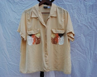"Thrifted Notations Woman Brand Collared Button-Up // Original ""No Face"" Screen Print Design Patterned on Front Pockets // Size 2x // Yellow"