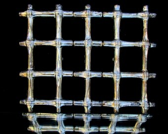 Vintage Faux Bamboo Silver Plated 3-Section Trivet || Candle Coaster || Chinoiserie Chic / Hollywood Regency Decor