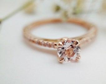 Morganite Engagement Ring, Rose Gold Engagement Ring, 14kt Rose Gold, Morganite, Aquamarine, Black Onyx, White Topaz, Blue Topaz