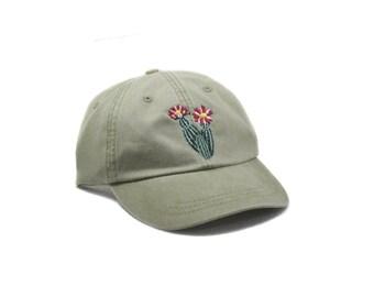 Cactus embroidered hat, cap, flower, gardening hat, sun hat, plant, floral hat, embroidery, garden cap, desert hat, dad hat