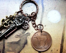 Moose keychain, Norwegian coin, 1966 coin, 1967 coin, Norse jewellery, Elk necklace, Scandinavian jewelry, Norse coin