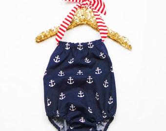Anchors Away Romper / Bubble Romper