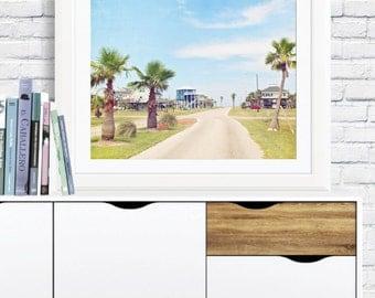 Coastal neighborhood photo print: Palm trees on road, Surfside, Galveston, Texas, Gulf of Mexico, stilt houses