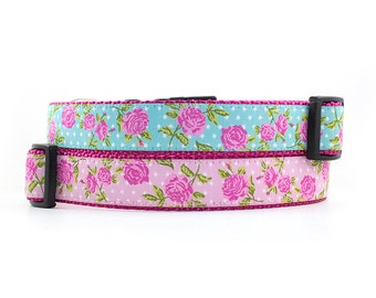 Floral Dog Collar // Size S-L // Adjustable Length // Pattern: Dusty Rose Polka Dot in Blue  or Pink