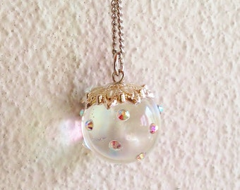 Ball Pendant Necklace, Crystal Clear Sphere Necklace, Clear Resin Ball Pendant Necklace, Sparkly Ball Pendant Necklace, Resin Jewelry