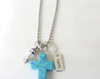 Cross Turquoise Stone Barbell Weightlifter Workout Faith Crystal Necklace With Your Choice of Chain