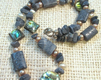 SeaSide Necklace - Abalone, Blue Coral, Freshwater Pearls