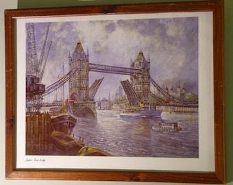 London Tower Bridge - H. Moss - Original Framed Litho - Original Vintage Wood Frame - Historical Art - Tower Bridge Fine Art - Gift Worthy