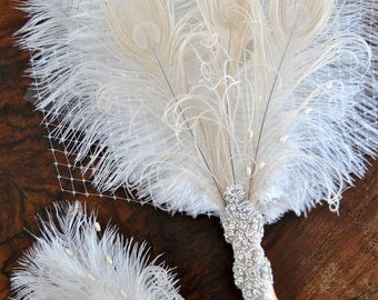 Bridal alternative Ostrich Feather Fan Bridal Bouquet Ivory Great Gatsby 1920s Bouquet chic art deco boho wedding groom feathers boutonniere