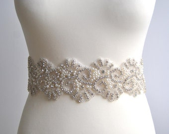 "3"" wide Pearls Crystal Bridal Sash Wedding Dress Sash Belt Rhinestone Sash Bridal Belt Bridesmaid Bridal Wedding dress sash - Sisi pearls"