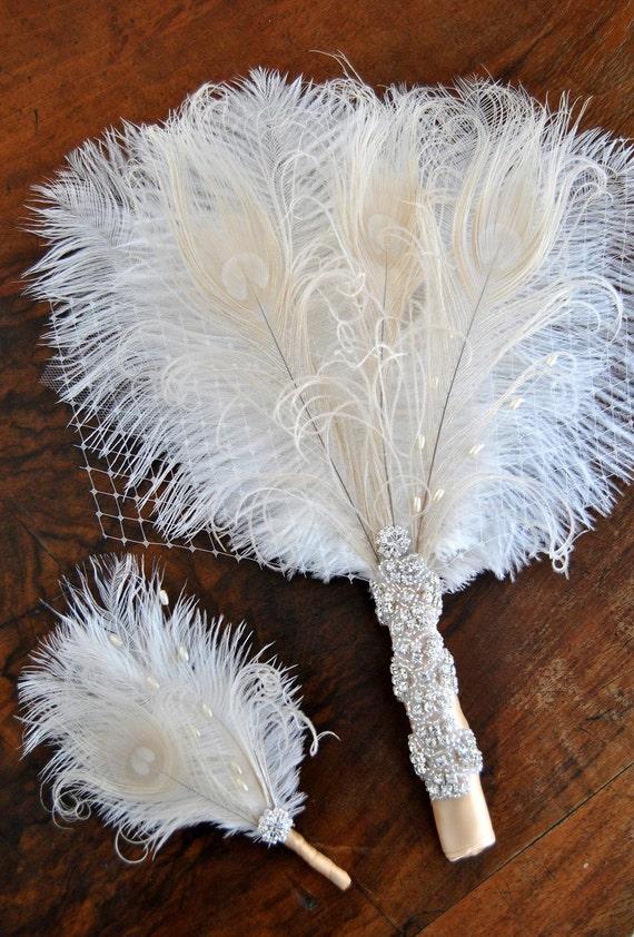 Bridal Alternative Ostrich Feather Fan Bridal Bouquet Ivory