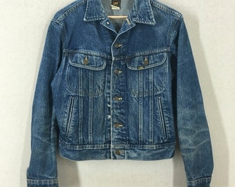 Vintage Lee Riders Blue Denim Jean Jacket Size 40R Union Made USA