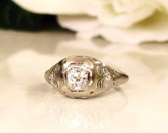 Antique Engagement Ring Old European Cut Diamond Art Deco Engagement Ring 18K White Gold Filigree Diamond Wedding Ring