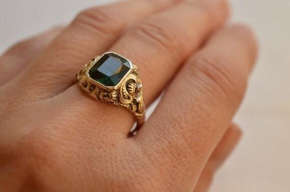 antique green tourmaline silver 835 ring antique tourmaline