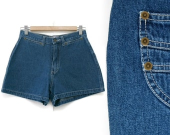 SALE Vintage Denim Shorts~Waist 27~Size Small/Medium~80s 90s High Waisted Jean Blue Booty Shorts~By S.L.A.