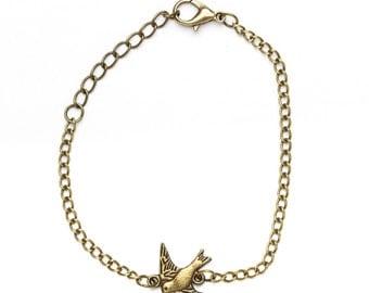 Bronze Swallow Bracelet   Swallow Charm Bracelet   Swallow Bird Jewellery   Gift Boxed Bracelet