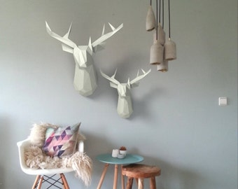 DIY Mounted paper sculpture Deer head (low poly papercraft)