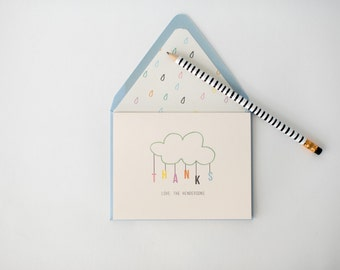 personalized baby shower thank you cards (sets of 10) // baby boy / baby girl / gender neutral / rain drop cloud blue pink shower card