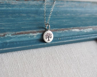 Tiny Tree of Life Necklace, Sterling Silver Tree Necklace