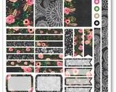 Chalkboard Flower Decorating Kit / Weekly Spread Planner Stickers for Erin Condren Planner, Filofax, Plum Paper