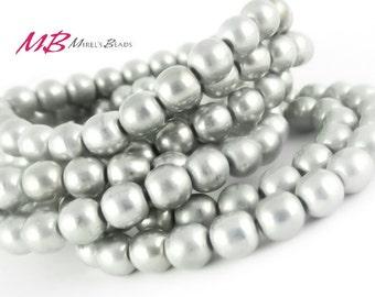 25 Silver Druk Beads, Czech Round Druk Beads