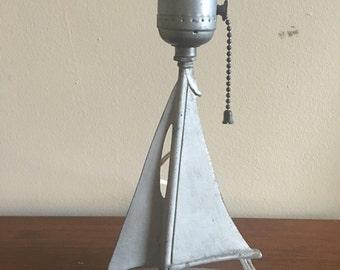 Vintage Sailboat Lamp Cast Metal