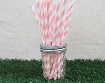 Pink Diagonal Striped Paper Straws (25 straws/pack)