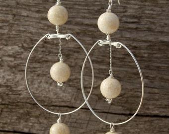 River Stone Chandelier Earrings/ Statement Long Earrings, Sterling Silver