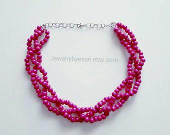 Hot Pink Necklace Dark Pink Statement Necklace Fuchsia Beaded Necklace Chunky Bib Necklace Pink Wedding Layered Necklace Multi Strand Choker