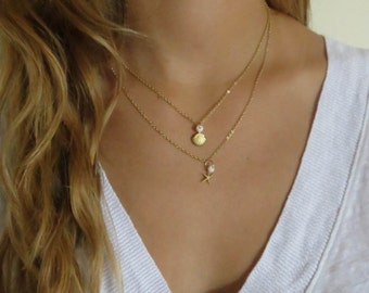 Layered Necklace - Multi Layer Necklace - Double Necklace - Set of 2 Necklaces - Gold Filled Necklace Set - Layering Necklace