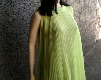 60's Accordion Pleat Trapeze Dress - Chartreuse Green  with Fitted Wiggle Dress Beneath by Miss Elliette