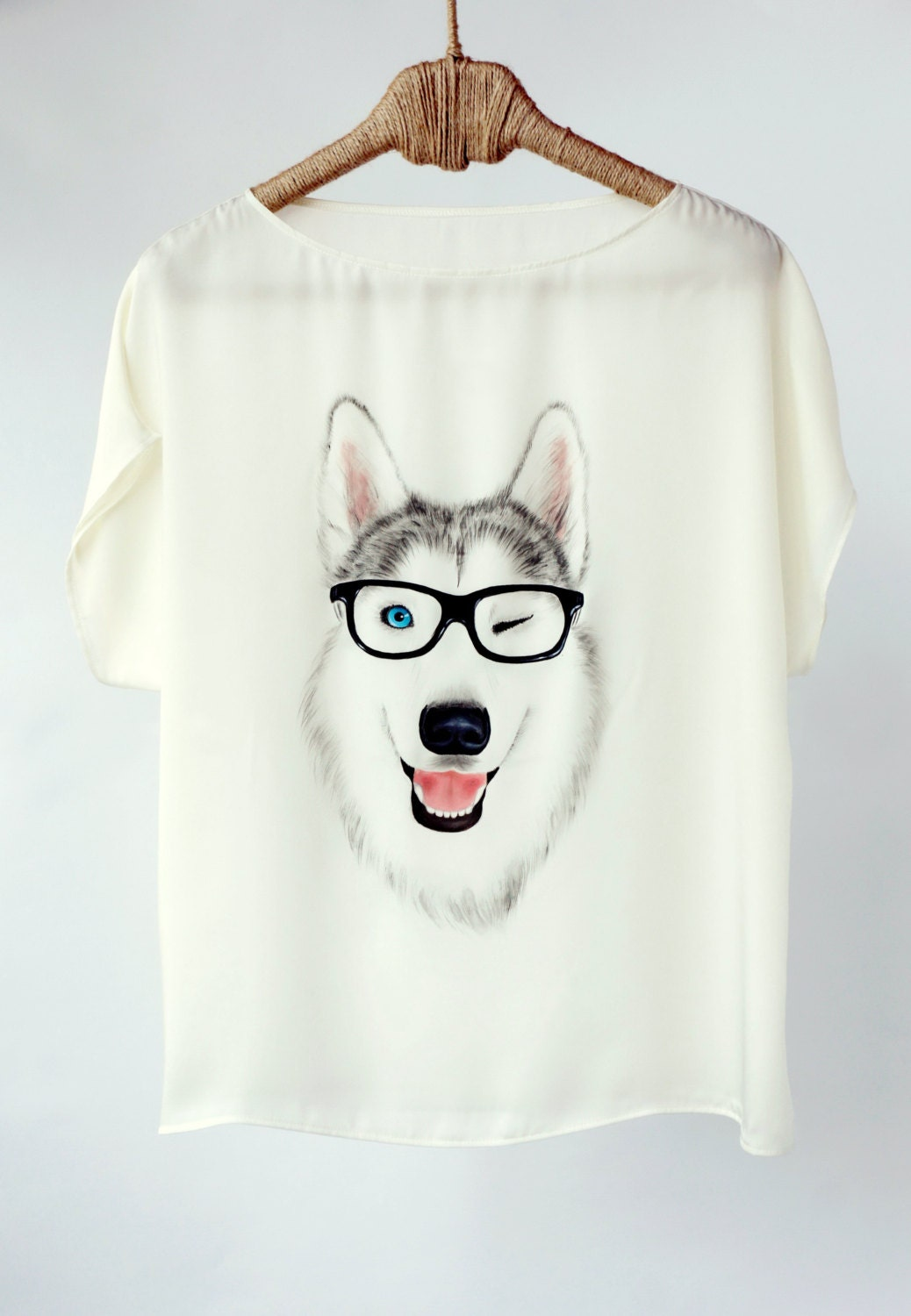 Hand painted art clothing handpainted animal dog shirt tshirt for Paint on clothes