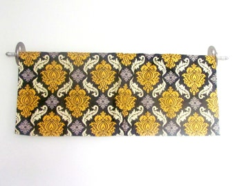 Gray  Valance. Yellow valance. Yellow Damask Valance .Window Topper.Joel Dewberry Valance.Matching IPILLOW cover available.