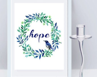 Instant Download Hope Wall Art, Quote, Wall Art Prints, Inspirational Quote, Quote Print, Motivational Quote, Floral Print, Watercolor Print