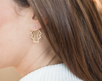 """NEW earrings Art Deco, """"front-behind"""