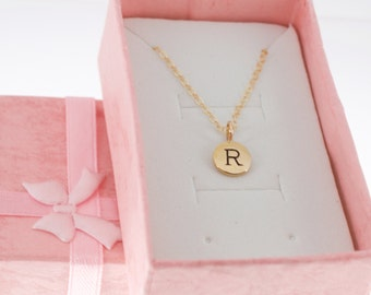 Little girl's initial necklace in natural bronze.  Little girls jewelry.  Letter charm necklace.  Letter Necklace.  Initial Necklace.