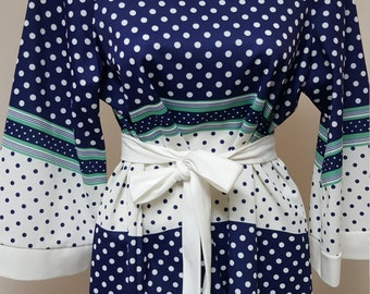 Vintage Herbert J. Meyer Blouse Blue and White Polka Dot Retro Mod Cool Funky Top with Tie Belt